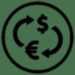 Icono de ronda de dinero de aeropuerto de viaje