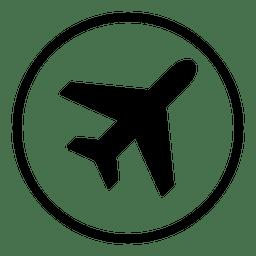 Icono redondo del aeropuerto de avión