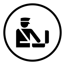 Travel airport staff round icon