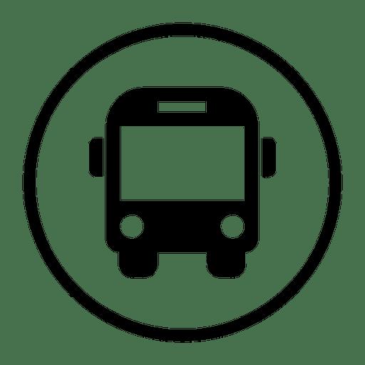Icono redondo de autobús de viaje