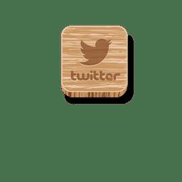 Twitter ícone quadrado de madeira