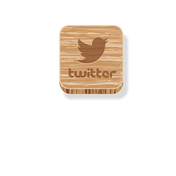 Twitter wooden square icon