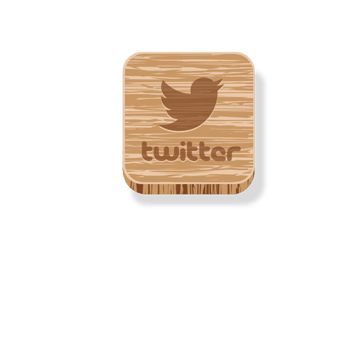 Twitter wooden square icon Transparent PNG
