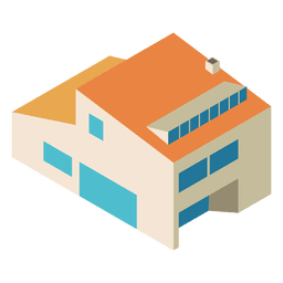 Casa isometrica de dos pisos.