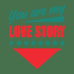 Rótulo de história de amor tipográfico