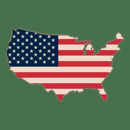 EUA Mapa imprimir bandeira