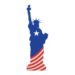 Estátua da bandeira dos EUA da liberdade