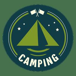 Sello redondeado camping vintage
