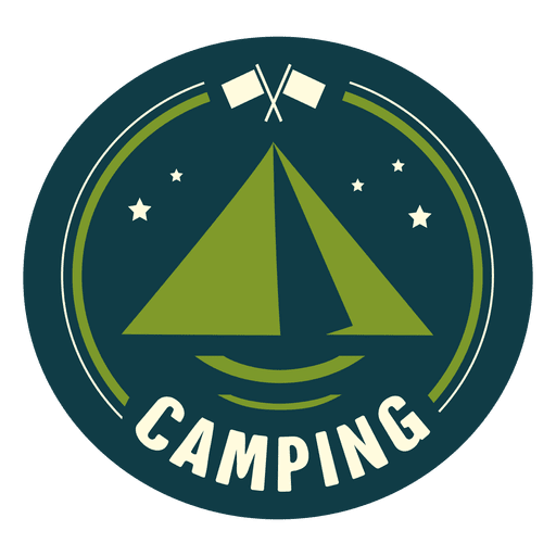 Vintage camping rounded seal Transparent PNG
