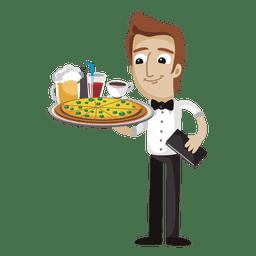 Dibujos animados divertidos de camarero