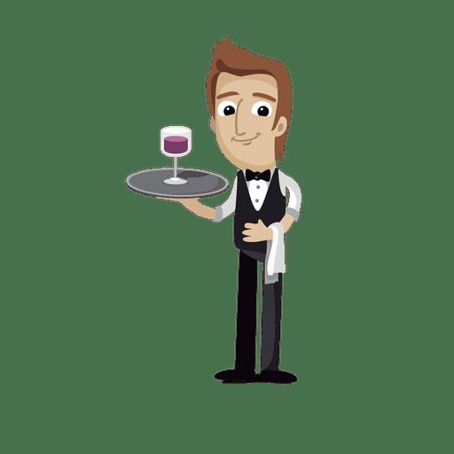Waiter profession cartoon.svg Transparent PNG