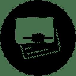 Ícone de serviço redondo de carteira