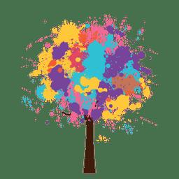 Árvore artística colorida de aquarela