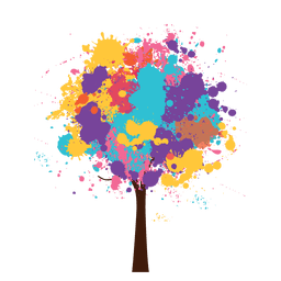 Árvore artística colorida em aquarela