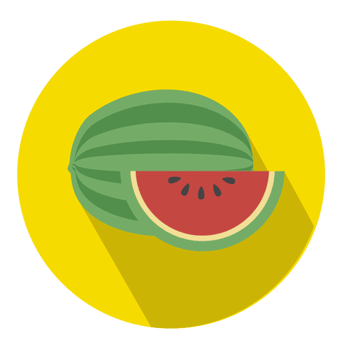 Watermelon flat circle icon Transparent PNG