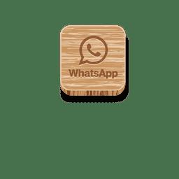 Logo cuadrado de madera Whatsapp.