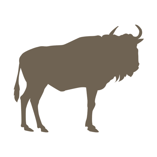 Wildebeest flat silhouette Transparent PNG
