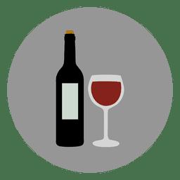 El vino icono de un círculo de cristal