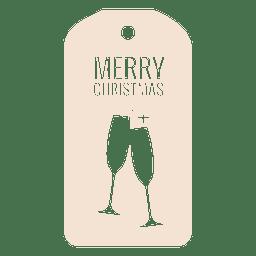 Copos de vinho cortados natal tag