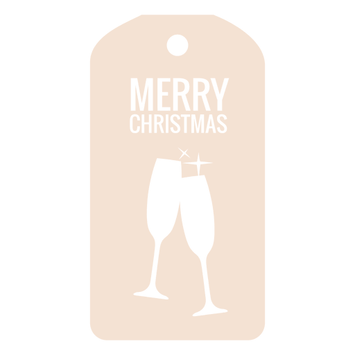Wine glasses die cut xmas tag Transparent PNG