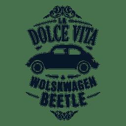 Insignia retro del escarabajo de Wolskwagen