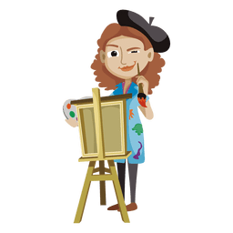 Desenhos animados de artista criativo de mulher
