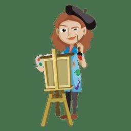 Mujer creativa artista de dibujos animados