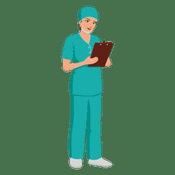 Desenhos animados de profissão de enfermeira de mulher