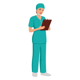 Mujer enfermera profesión caricatura