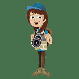 Dibujos animados de mujer fotógrafo