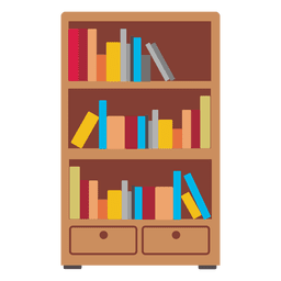 Wooden bookshelf icon