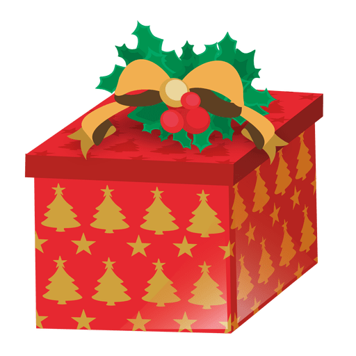 Xmas tree printed giftbox Transparent PNG