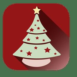 Icono cuadrado de arbol de navidad