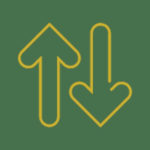 Yellow arrows line icon.svg