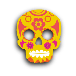 Yellow decorative sugar skull