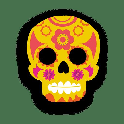 Yellow decorative sugar skull Transparent PNG