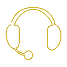 Yellow headphone line icon.svg