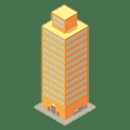 Edifício isométrico amarelo alta ascensão
