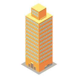 Yellow high rise isometric building