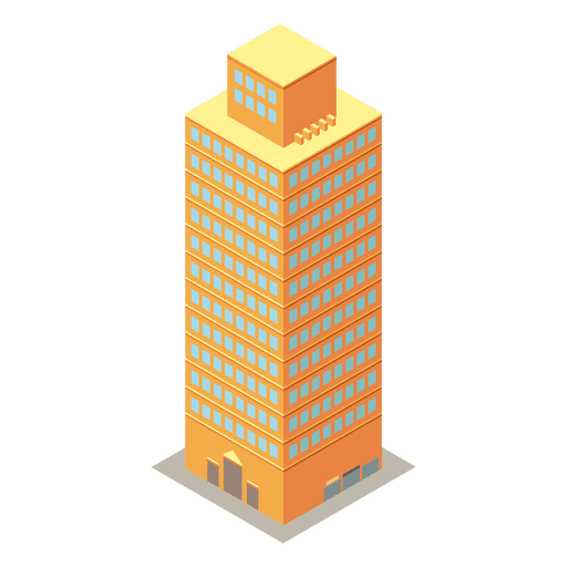 Yellow high rise isometric building Transparent PNG