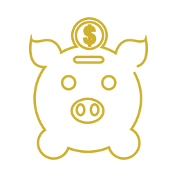 Yellow pigg bank line icon.svg