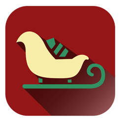 Yellow sleigh red square icon
