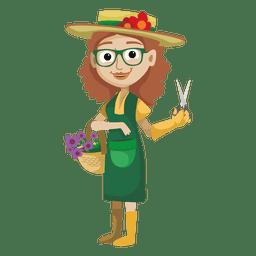 Jovem garota jardineiro dos desenhos animados