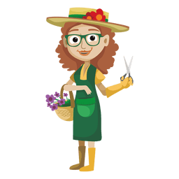 Young girl gardener cartoon