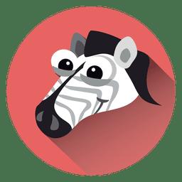 Zebra, caricatura, círculo, ícone