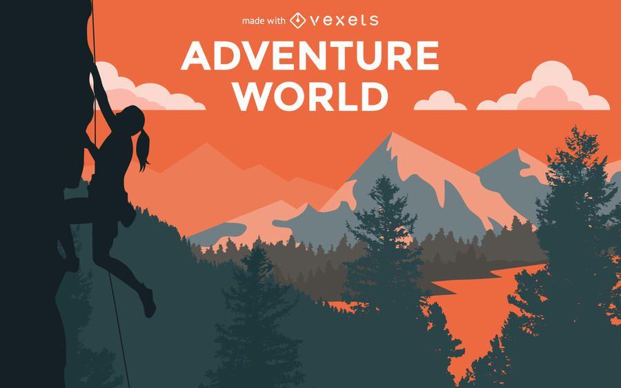 Caminhando criador de cartaz de aventura