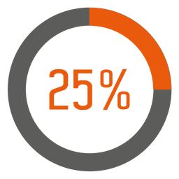 25 percent orange ring infographic