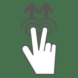 2x deslize para cima o ícone do gesto