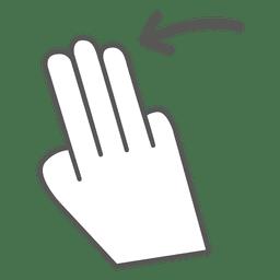 3x deslize para a esquerda para o ícone do gesto