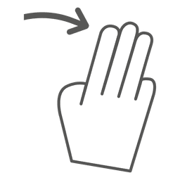 3x swipe right gesture icon